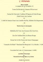 Menu L'Athénée - Le menu à 24€
