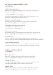 Menu Le Forum - Les entrées, pates et risottos