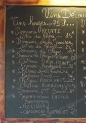 Menu Restaurant Chez Nous - Les vins