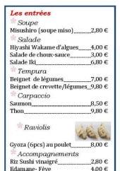 Menu Restaurant Iki - Les entrées et sushis