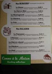Menu Comme à la maison - Les burgers, salades, pâtes...