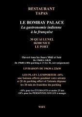 Menu Bombay Palace - Les informations sur le menu