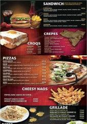 Menu Naos - Les sandwiches, crepes,....
