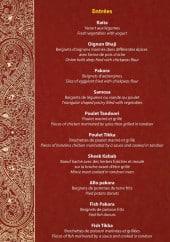Menu Taj Orient - Les entrées