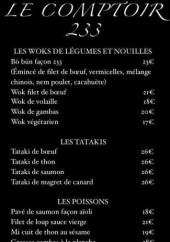 Menu Le Comptoir 233 - Carte et menu Le Comptoir 233 Grasse