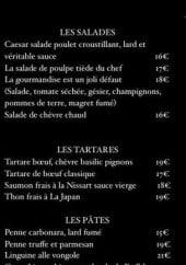 Menu Le Comptoir 233 - Salades, tartares, pâtes,...