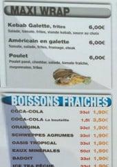 Menu Mister Burger - Boissons et wraps