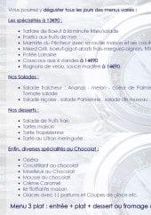 Menu Le cercle des marins - Les spécialités, salades, desserts...