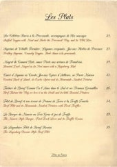 Menu Le Manoir - Les plats