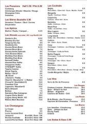 Menu Le Saloon Pub - Les boissons