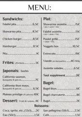 Menu Rouvi - Sandwiches, frites, plats,.....
