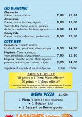 Menu Sos Pizza - blanches, cote mer,menu pizza, lasagnes maison, salades