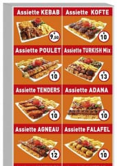 Menu Turkish - Les assiettes,sandwich kebab, salade...