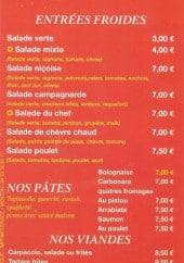 Menu Pizza Trust - Entrées froides, pâtes et viandes