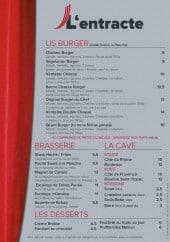 Menu Restaurant  L'entracte - Les burgers, brasseries,....