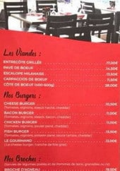 Menu La Piscine - Viandes, burgers, broches,...