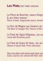 Menu Au Coin Gourmand - Les plats