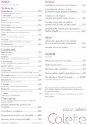 Menu Colette - Pizzas, entrées, pâtes,...