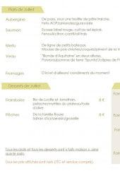 Menu L'Aubépine - Les plats, desserts et formules