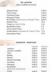 Menu La Croustillade - Assiettes, sandwiches et kebabs