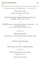 Menu La Sapinière - Le menu du tentations à 37€