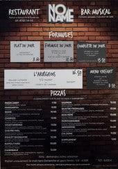 Menu No Name - Formules et pizzas