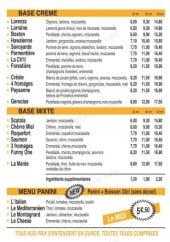 Menu Funny Box - Les pizzas base crème, les pizzas base mixte et menu paninis