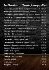 Menu Pizzeria de l'Ecluse - Les pizzas tomates