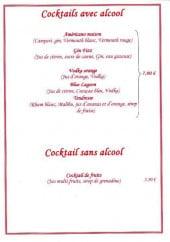 Menu Sicilia - Les cocktails avec alcool et cocktails sans alcool