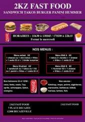 Menu 2KZ Fast Food - Les menus