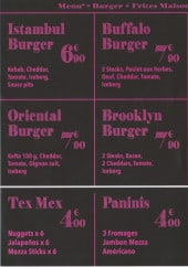 Menu Burger House - Les menus