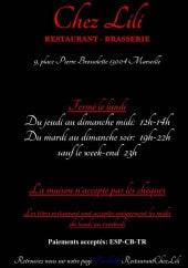 Menu Chez Lili - Carte et menu Chez Lili Marseille 4