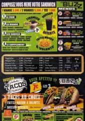 Menu Le Buzz - Sandwichs, menus, tacos,....
