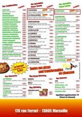 Menu Pizza Ferrari - Les pizzas, chaussons, desserts,...