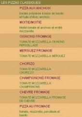 Menu Pizzeria Le Callenco - Les pizzas classiques