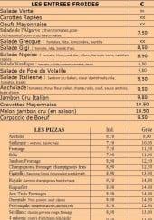 Menu Le Tropicana - Les entrées froides et pizzas