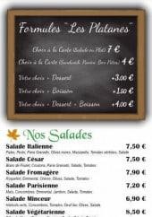 Menu Les platanes - Les formules, salades,...