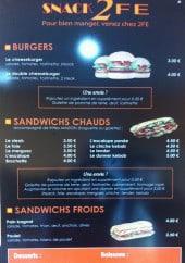 Menu Snack 2 Fe - Burgers et sandwiches