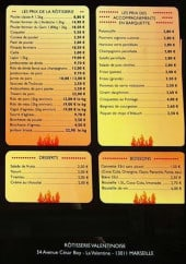 Menu Rotisserie Valentinoise - Accompagnements, desserts, boissons,....