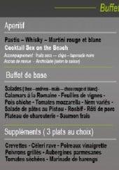 Menu Seven Set Park - Les buffets: les apéritifs, les desserts, les vins,...