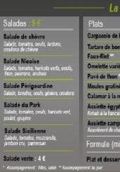 Menu Seven Set Park - Les salades, les plats, les pizzas