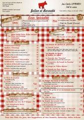 Menu Julien et Barnabé - Les menus