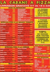 Menu La Cabane à Pizza - classiques, spécialités tomates, spécialités crème, chaussons...