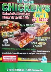 Menu Le club chicken's - Les tacos et le pain maison