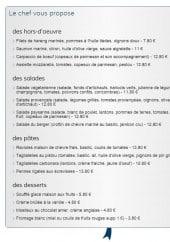 Menu Café Le Darius - Les hors d' oeuvres, salades, pâtes et desserts