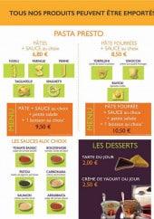 Menu Chez jacky - Les pâtes, desserts et boissons