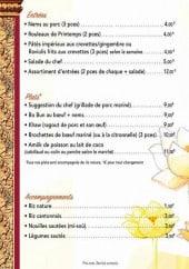 Menu Chez sou & li - Les entrées, plats et accompagnements