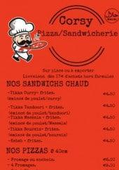 Menu Corsy Pizza - Les sandwiches chauds, les pizzas...