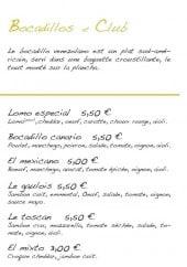 Menu L'edolive - Les bocadillos et clubs