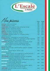 Menu L'Escale - Les pizzas